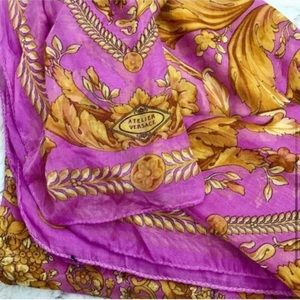 Authentic Atelier Versace purple and gold scarf